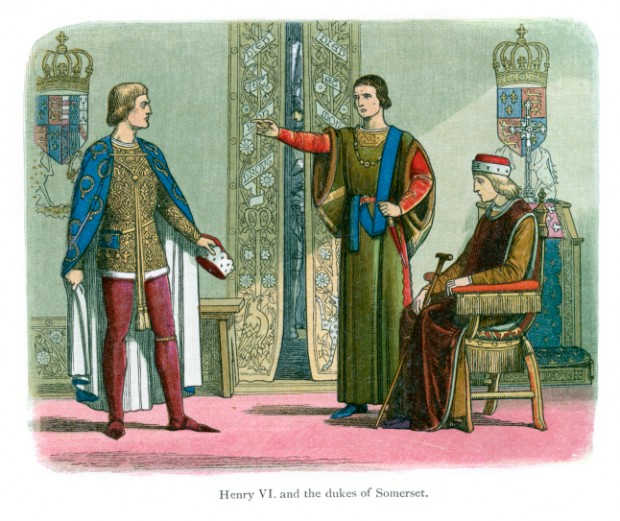 Vintage color lithograph from 1864 showing the Duke of Somerset accusing the Duke of York of treason before an invalid King Henry VI. Getty Images
