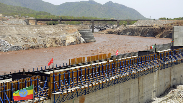 "A picture taken on May 28, 2013 shows the Blue Nile in Guba, Ethiopia, during its diversion ceremony.  Ethiopia has begun diverting the Blue Nile as part of a giant dam project, officials said on May 29, 2013 risking potential unease from downstream nations Sudan and Egypt. The $4.2 billion (3.2 billion euro) Grand Renaissance Dam hydroelectric project had to divert a short section of the river -- one of two major tributaries to the main Nile -- to allow the main dam wall to be built.  ""To build the dam, the natural course must be dry,"" said Addis Tadele, spokesman for the Ethiopian Electric Power Corporation (EEPCo), a day after a formal ceremony at the construction site. AFP PHOTO / WILLIAM LLOYD GEORGE        (Photo credit should read William Lloyd-George/AFP/Getty Images)"