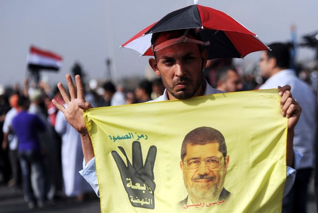 Morsi supporters gather outside Cairo Police Academy on November 4, 2013. (Mohammed Elshamy/Anadolu Agency/Getty Images)