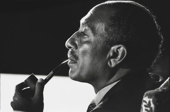 Egyptian president Anwar Sadat attends the successful conclusion of the Sinai II negotiations in 1975 in Alexandria, Egypt. (David Hume Kennerly/Getty Images)